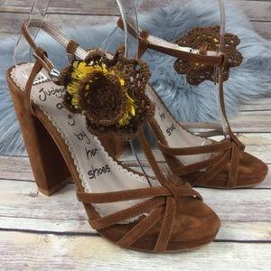 Killah Crushed Velvet Brown Strappy Platform Heels